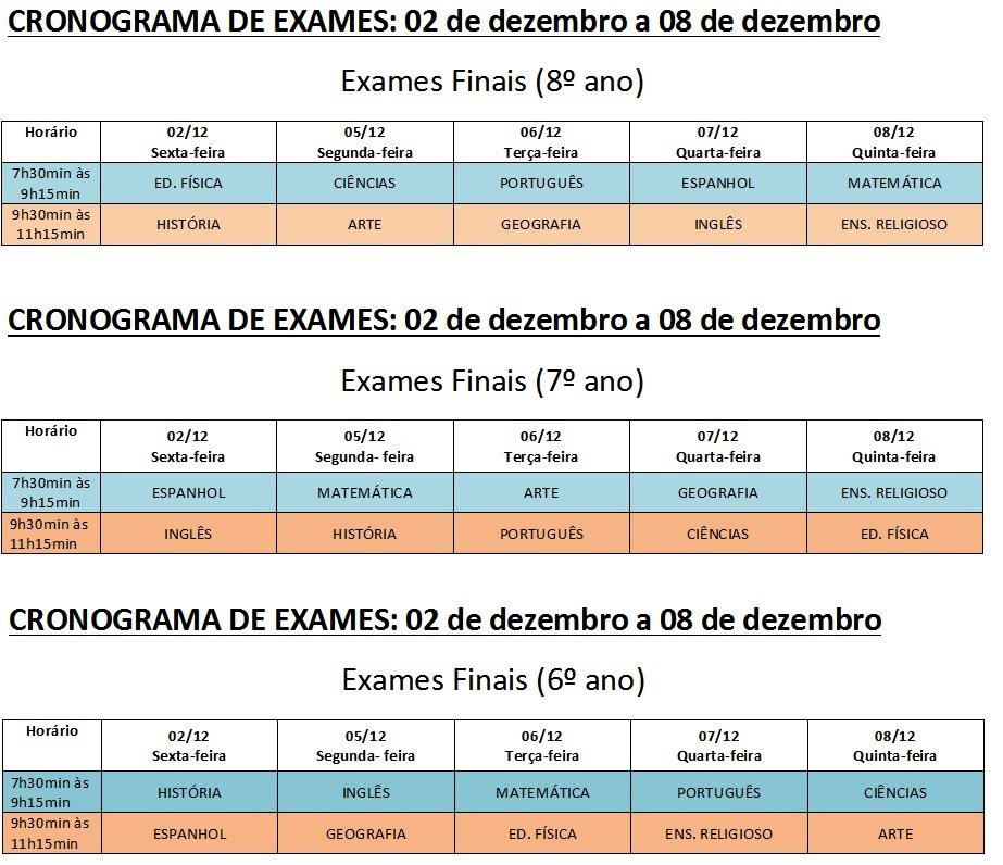 horario exames